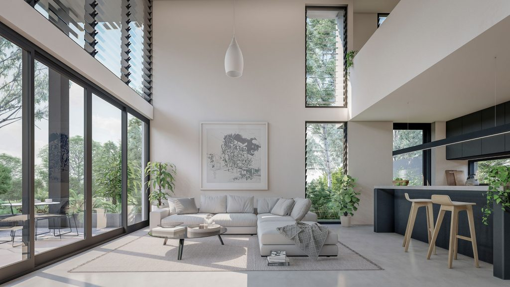 couvaras architects dual occupancy interior living room