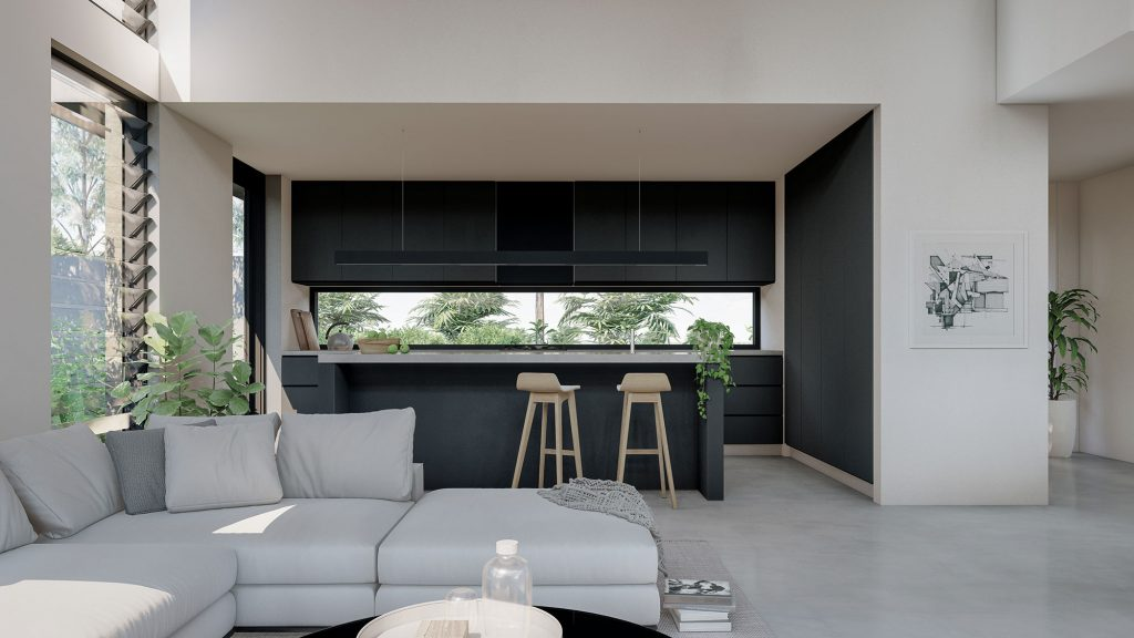 couvaras architects dual occupancy interior living kitchen area